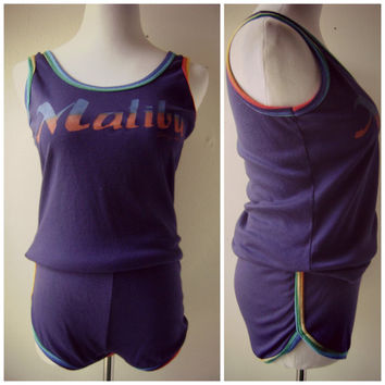 80s tank and running short set | vintage 1980s Malibu rainbow shorts tank top | m/l | retro | hipster | hot pants | summer outfit | hippie