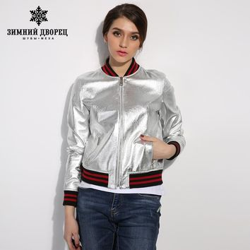 Spring new street punk rivet fashion leather leather women short paragraph slim leather motorcycle jacket
