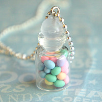 easter eggs in a jar necklace