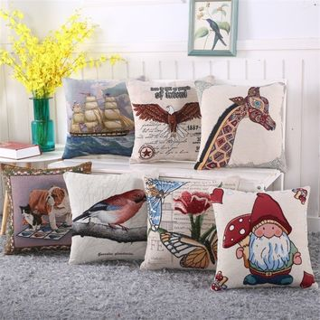 Animal Print Cotton Linen Couch Sofa Chair Car Cushion Case Cover Home Decoration Pillowcase Pillowcover