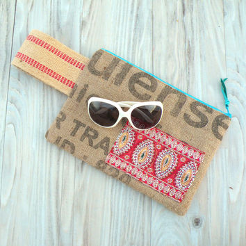 Coffee Clutch Purse - Ecofriendly Bag made with Recycled Burlap Coffee Bags and Sari Fabric