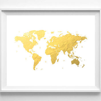 Shop gold foil world maps on wanelo printable world map faux gold foil gold foil print wall deco gumiabroncs