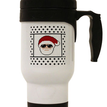 Cool Santa Christmas Sweater Stainless Steel 14oz Travel Mug