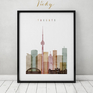 Toronto print, watercolor poster, Travel, Wall art, Toronto Canada skyline, Toronto watercolor print, Home decor, Gift, ArtPrintsVicky