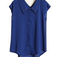 Rivets Detailed Cut-out Blue Shirt [NCSHU0112] - $26.99 :