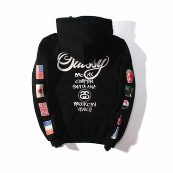 Stussy WT Flags  Women Men Lover Casual Long Sleeve Plus Velvet  Pullover Sweater