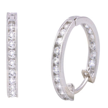 CZ Huggie Hoop Earrings Hinged Cubic Zirconia 925 Sterling Silver 18mm