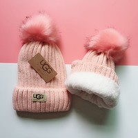 UGG Winter Classic Popular Women Men Velvet Warm Knit Hat Cap Pink