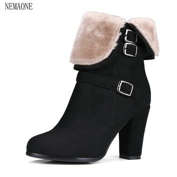 NEMAONE Winter Women Round Toe Ankle Boots High Heels Shoes Double Buckle Platform Short Martin Booties Size 33-43
