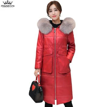 tnlnzhyn 2017 New Winter Women PU Leather Jacket Slim Fur Collar Hooded Women Down Cotton Jacket Plus Size Warm Coats Y730