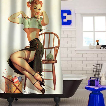 sexy vintage pin up retro girl  custom shower curtain