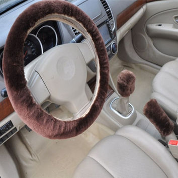 Coffee 3pcs Artificial wool plush car cover steering wheel cover plush set handbrake cover car imitation fur steering wheel set gift Winter & Autumn Warm