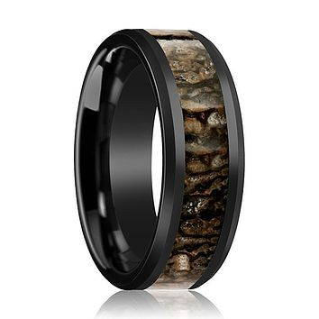 CADMUS Black Ceramic Couple Matching Ring with Brown Dinosaur Bone Inlay and Bevels - 4MM - 8MM