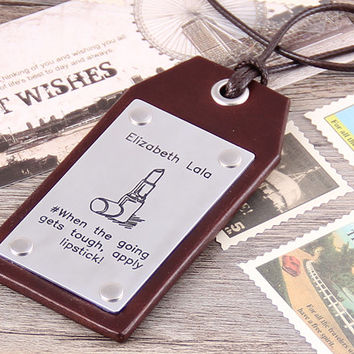 Leather Luggage Tags - Personalized Luggage Tags - Custom Luggage Tag - Lipstick Luggage Tag - Engraved Luggage Tag - Luggage Tags