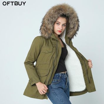 High quality 2015  long genuine natural real fur coat winter jacket women parkas raccoon fur collar hooded padded jacket female