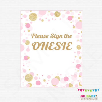 Please Sign the Onesuit, Pink and Gold Baby Shower Activity, Guestbook Alternative, Girl Baby Shower Sign Pink, Instant Download, CB0003-PG