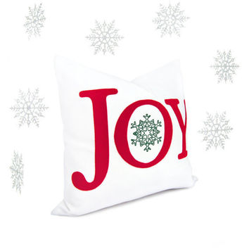 Felt Christmas pillow cover Red JOY word by ClassicByNature