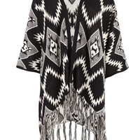 Black Aztec Print Waterfall Knitted Cardigan at Fashion Union