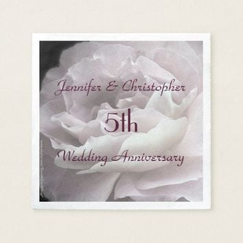 Pink Rose Paper Napkins, 5th Wedding Anniversary Paper Napkin