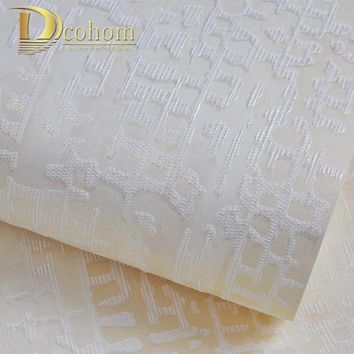 Beige Brow Textured Wallpaper Roll Gray Modern Striped Vinyl Plain Wall Paper Cream White  Wallcover For Bedroom Walls