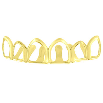 See through Top Teeth Grillz 14k Yellow Gold Finish