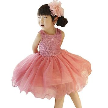Summer Sequin Baby Girl Dress Kids Toddler Girl Clothes Baptism Princess Tutu Children's Girls Dresses Vestidos Infantis 2-9Y