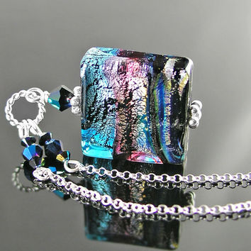 Sterling Silver Chain Necklace Colorful Iridescent Pendant Necklace Multi Color Murano Glass Square Pendant Artisan Handmade Pink Blue Bead
