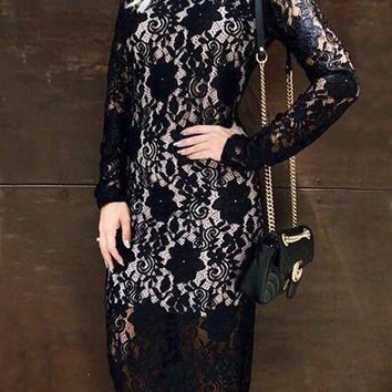 Black Floral Lace Band Collar Long Sleeve Elegant Homecoming Party Midi Dress