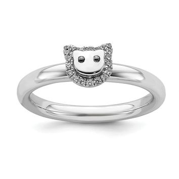 Sterling Silver Stackable Expressions Cat Diamond Ring