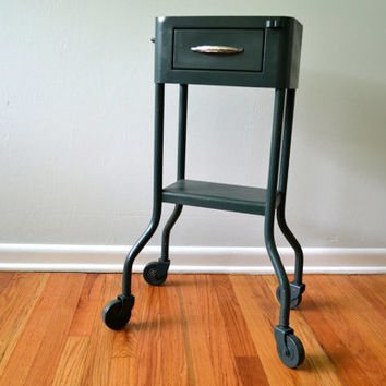 Vintage Metal Bar Cart , Green Rolling Table Stand with Drawer, Industrial Caddy on Wheels, 1950s Furniture, Casters, Bathroom Office Stand