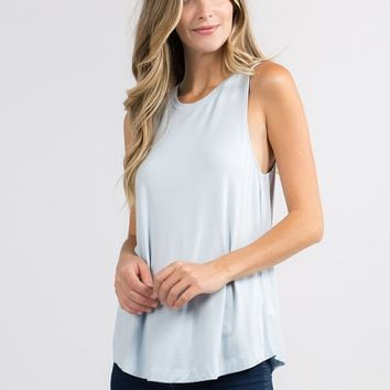 Sleeveless Flowy Muscle Tee in Baby Blue