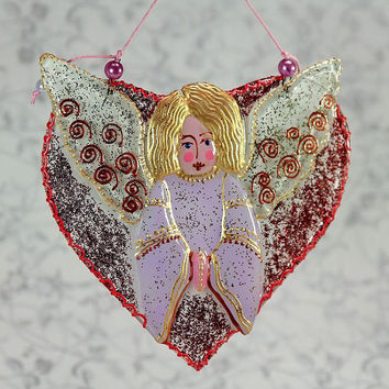Handmade ANGEL HEART glass fusing techniques newborn gift lovers mothers sisters guardian amulet talisman
