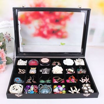 1Pcs Velvet Glass Jewelry Ring Display Organizer Box Tray Holder Earring Storage Case color black