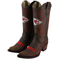 Kansas City Chiefs Women's Flyover Pull-Up Cowboy Boots - Brown