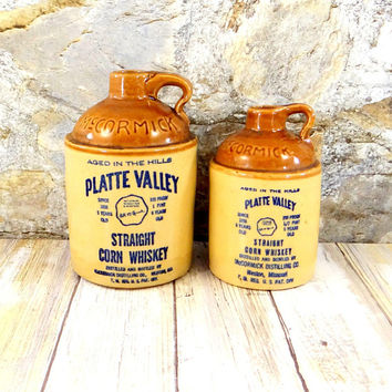 Vintage McCormick Platte Valley Corn Whiskey Stoneware Jugs, Pint and Half Pint