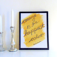 Orange is... Frank Sinatra - orange and black on white - Wall Art Print handmade written - original by misssfaith
