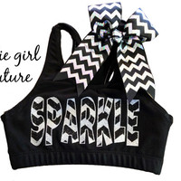 Custom Glitter & Chevron Sports Bra and Coordinating Chevron Bow - Multiple Colors Available