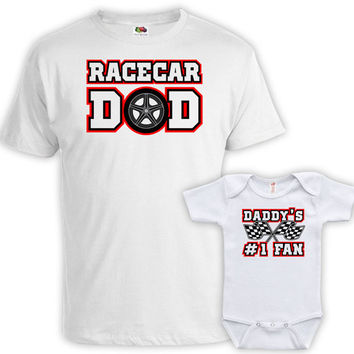 Father Son Matching Shirt Father And Baby Shirt Father And Daughter Gift For New Dad T Shirt Racecar Dad Daddy's #1 Fan Bodysuit MAT-744-745