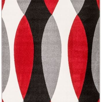 2076 Red Gray Abstract Contemporary Area Rugs