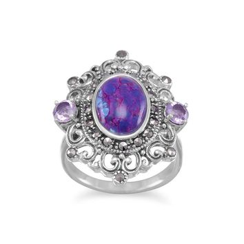 Sterling Silver Ornate Marcasite Purple Turquoise and Amethyst Ring