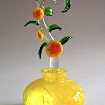 Yellow Art Glass Perfume Bottle, Tall Floral Stopper, Vintage