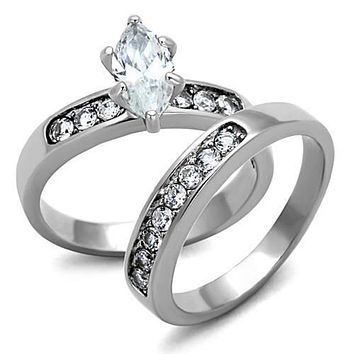 WildKlass Stainless Steel Wedding Ring High Polished (no Plating) Women AAA Grade CZ Clear