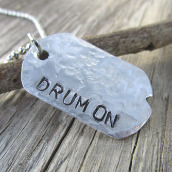 Drum On Silver Dog Tag Necklace