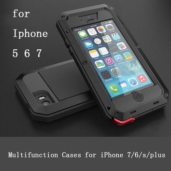 "Metal Extreme Shockproof Military Heavy Duty Tempered Glass Cover Case Skin for iPhone 8 7 6 5 /Plus 5.5"" Full-Body Waterproof"