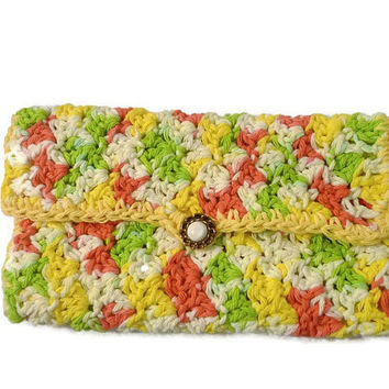 Crochet Handmade Clutch, Cosmetic Bag, Money Bag, Phone Bag, Crochet Hook Bag