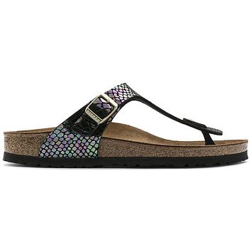 Birkenstock Gizeh Birko Flor Shiny Snake Black Multicolor 1003464/1003465 Sandals - Re
