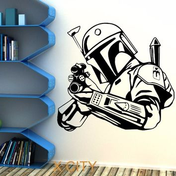 Star Wars Force Episode 1 2 3 4 5  BOBA FETT BOUNTY HUNTER wall art sticker decal removable vinyl cut movie themed DIY Home Decoration Poster Mural Room AT_72_6