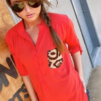 Single Leopard Pocket {Tomato Red} | The Rage