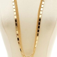 Layered Mixed Chain Necklace by Charlotte Russe - Gold