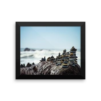 Rocks by the Ocean Framed photo paper poster